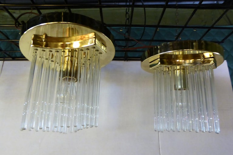 Pair of Gaetano Sciolari Glass Rod Waterfall Flush Mounts for Lightolier For Sale 2