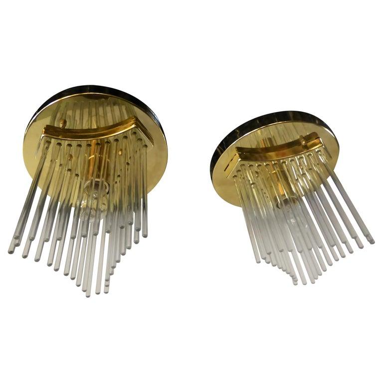 Pair of Gaetano Sciolari Glass Rod Waterfall Flush Mounts for Lightolier For Sale