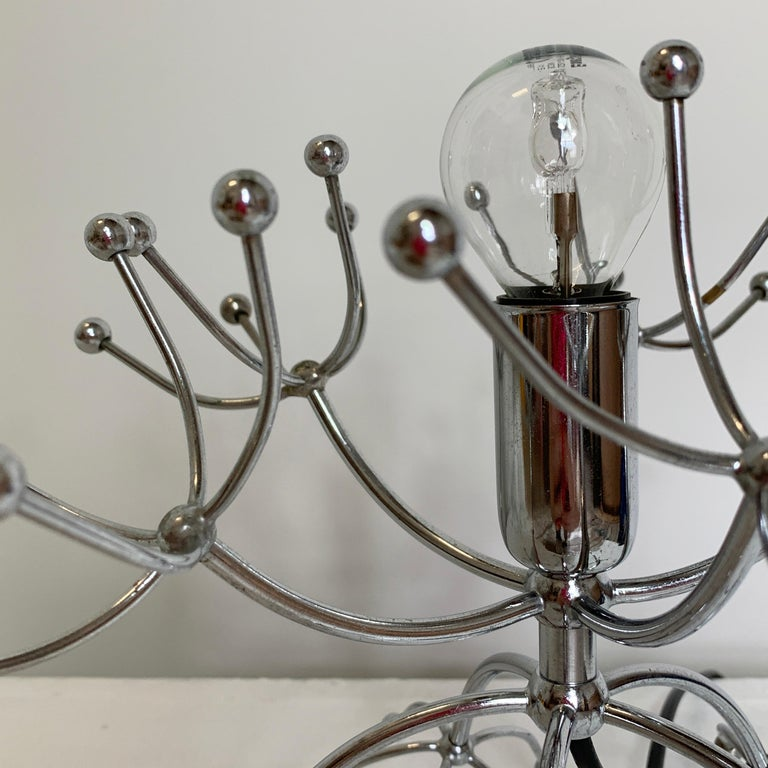 Mid-Century Modern Pair of Gaetano Sciolari Sputnik Table Lamps, Italy, 1960s For Sale
