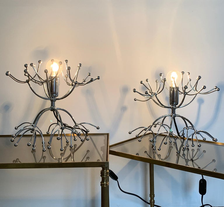 Plated Pair of Gaetano Sciolari Sputnik Table Lamps, Italy, 1960s For Sale