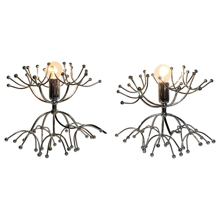 Pair of Gaetano Sciolari Sputnik Table Lamps, Italy, 1960s For Sale