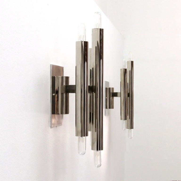 Plated Pair of Gaetano Sciolari Wall Lights For Sale