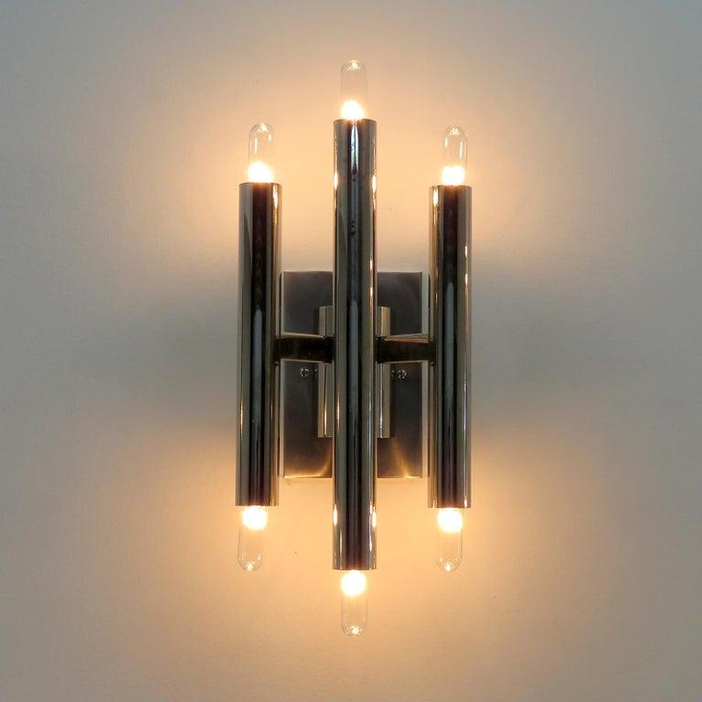 Metal Pair of Gaetano Sciolari Wall Lights For Sale
