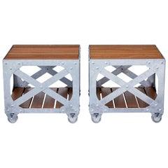 Pair of Galvanised Steel and Teak Industrial Side Tables