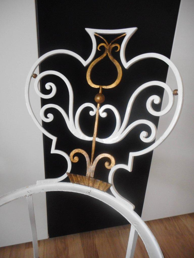 French Pair of Garden Chairs by G. Poillerat For Sale