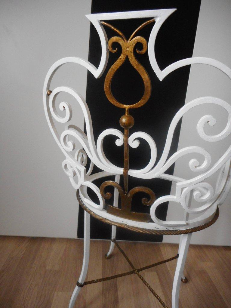 Gilt Pair of Garden Chairs by G. Poillerat For Sale