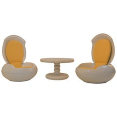 Pair Of Garden-Egg-Chairs With Matching Table By Peter Ghyczy, 1968