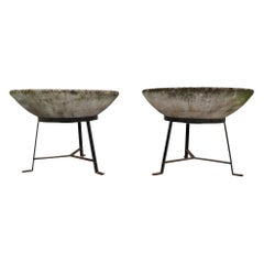 Pair of Garden Stone Planters on Stands by Willy Guhl, Switzerland, 1960s