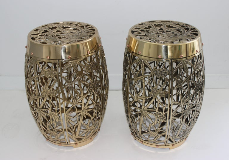 Pair of Garden Stools Polished Brass Copper Fretwork For Sale 5