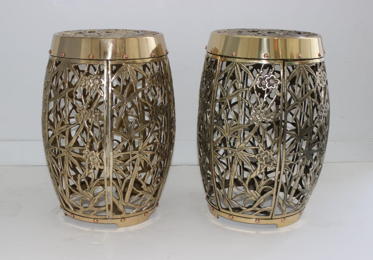 Gardenstools bamboo crane bird cherry blossom motif in polished brass and copper fretwork - a Pair - from a Palm Beach estate  These have been professionally polished and clear lacquered for years of style and function. The cast-brass and copper