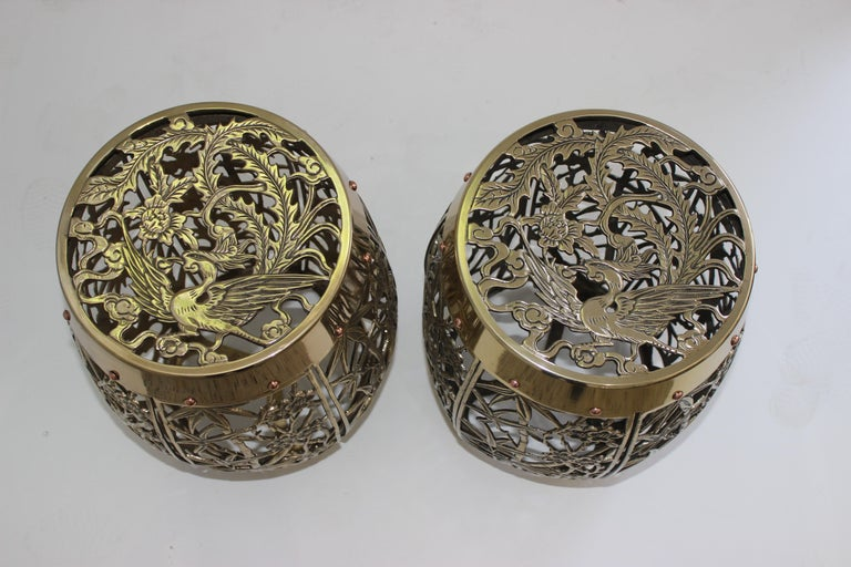 Anglo-Japanese Pair of Garden Stools Polished Brass Copper Fretwork For Sale