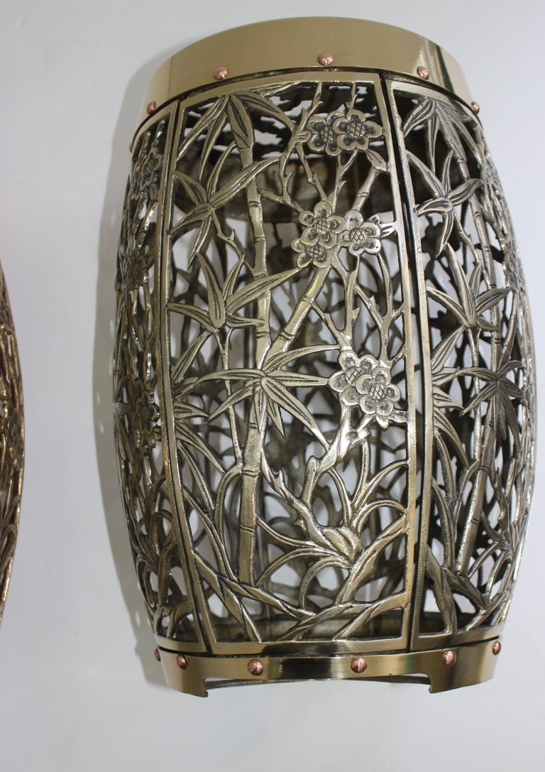 Pair of Garden Stools Polished Brass Copper Fretwork For Sale 1