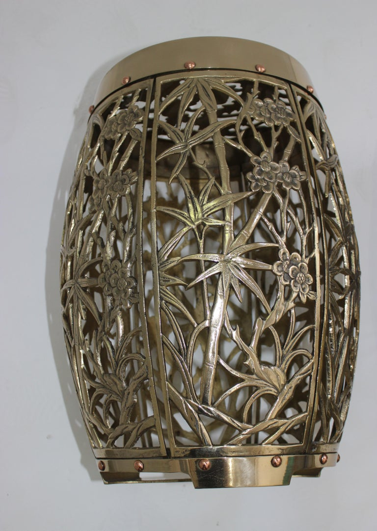 Pair of Garden Stools Polished Brass Copper Fretwork For Sale 2