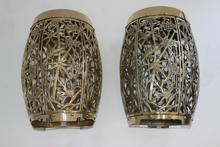 Pair of Garden Stools Polished Brass Copper Fretwork For Sale 3