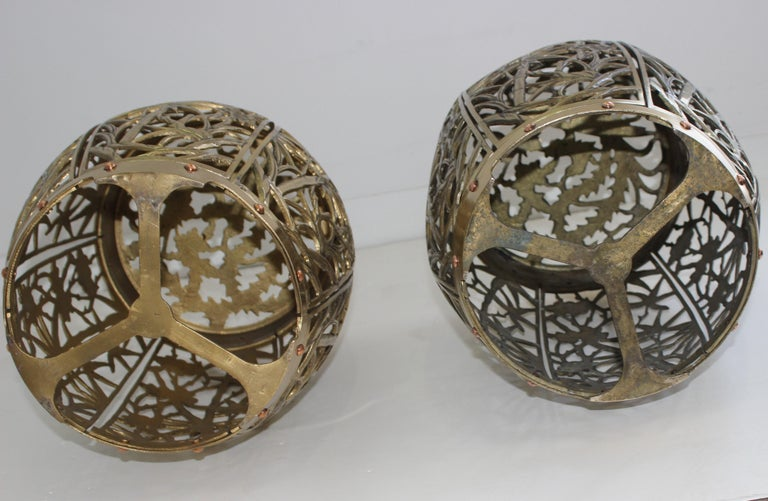 Pair of Garden Stools Polished Brass Copper Fretwork For Sale 4