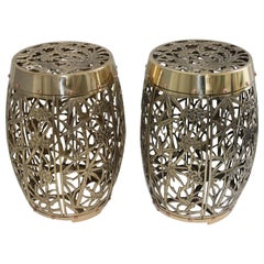 Pair of Garden Stools Polished Brass Copper Fretwork