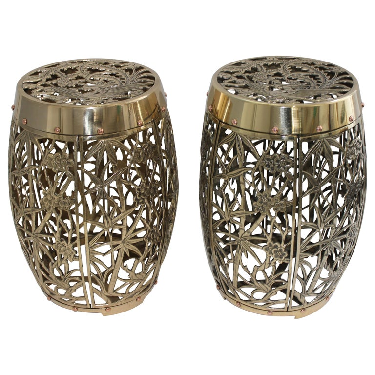 Pair of Garden Stools Polished Brass Copper Fretwork For Sale