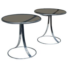 Pair Of Gardner Leaver For Steelcase Stainless Side Tables