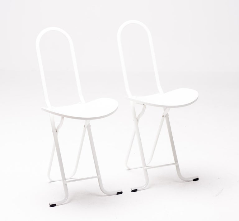 Enameled Pair of Gastone Rinaldi Dafne Folding Chairs For Sale