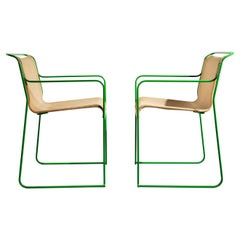 Pair of Gastone Rinaldi Green Lacquered Steel and Canvas Armchairs, 1979