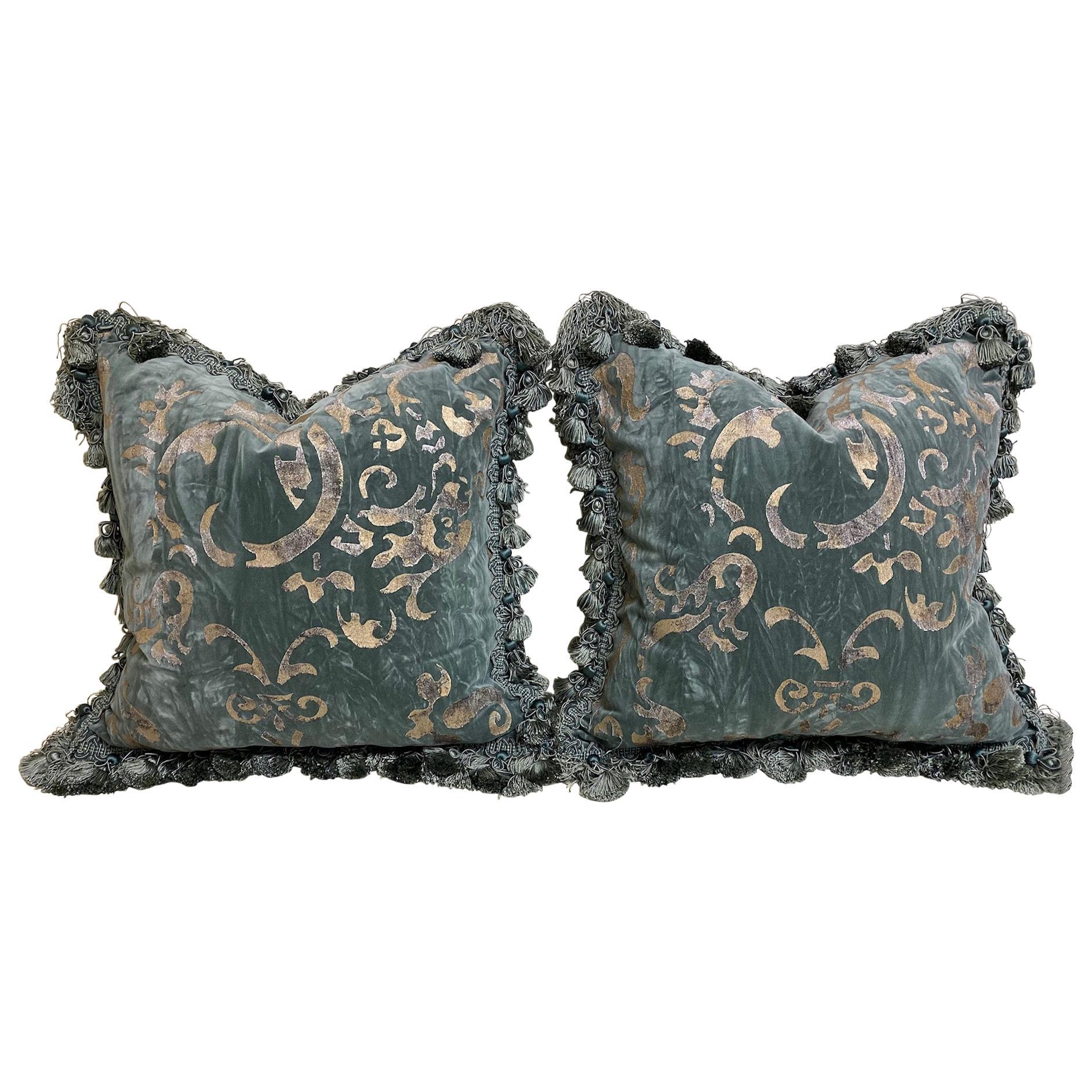 Pair of Gaufrage Velvet Cushions