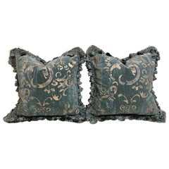 Pair of Gaufrage Velvet Cushions