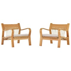Pair of GE 671 Easy Chairs by Hans Wegner for GETAMA, Denmark, 1967