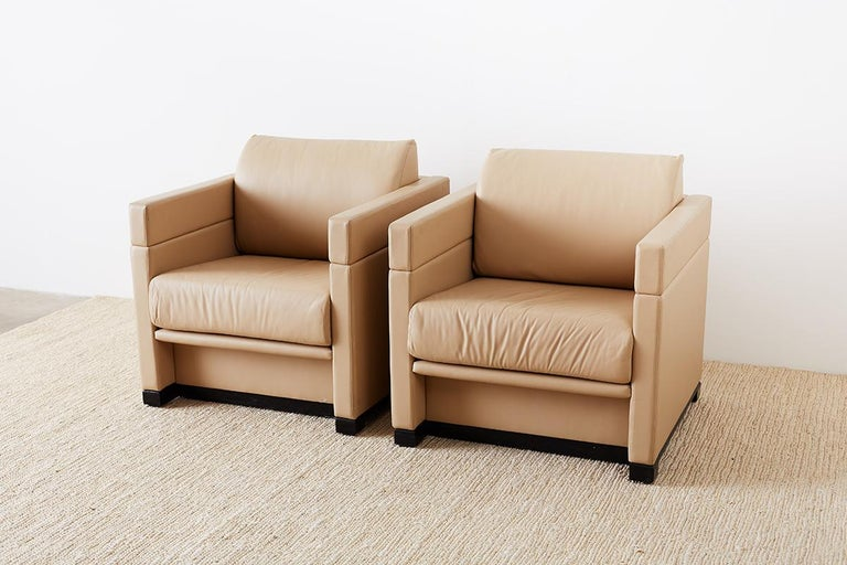 Cool Pair Of Geiger For Herman Miller Leather Cube Chairs Creativecarmelina Interior Chair Design Creativecarmelinacom