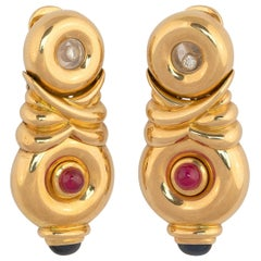 Pair of Gem-Set and Diamond Earclips Chopard