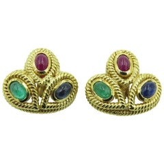 Pair of Gem Set and Gold Earrings