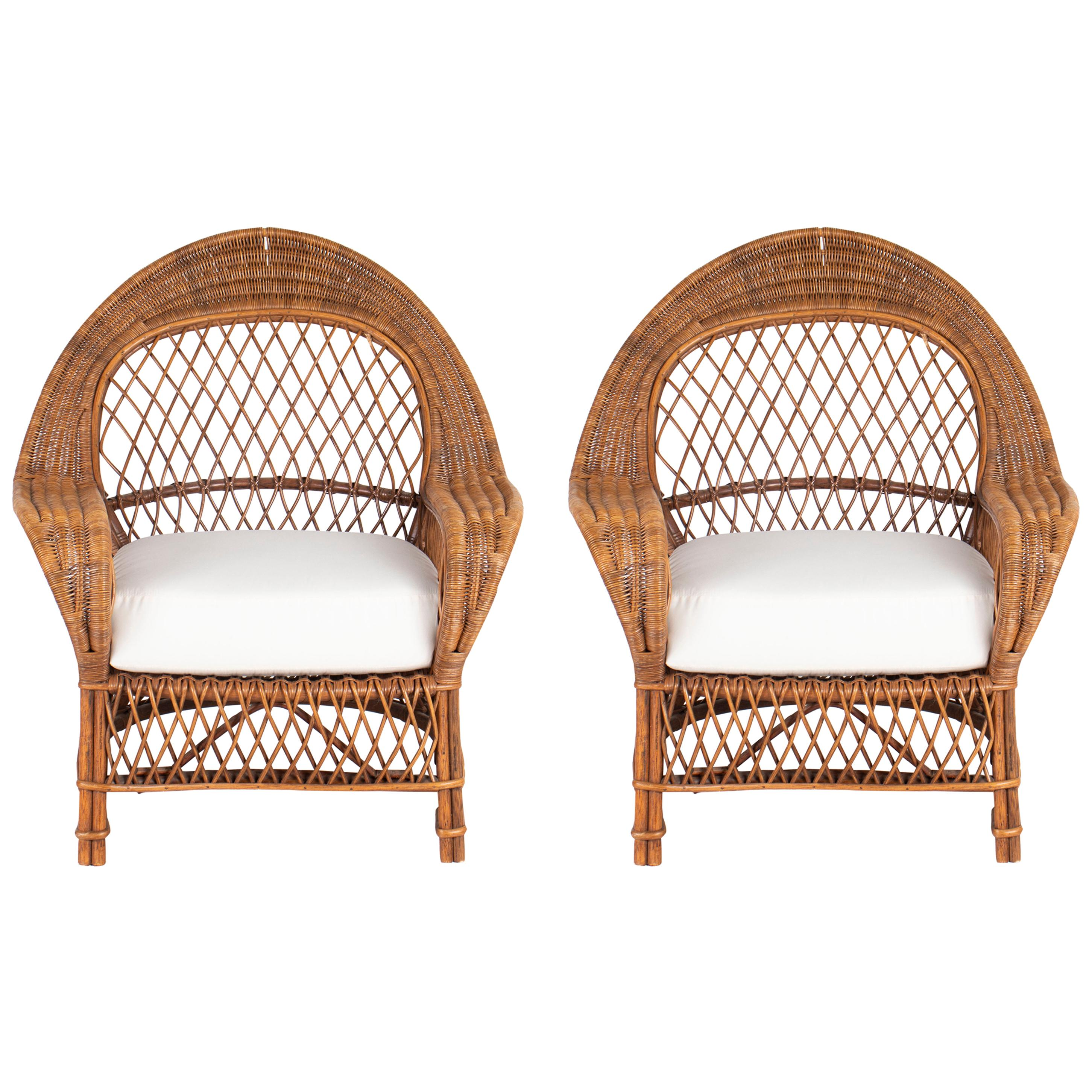 Pair of Generously Scaled Danish Rattan Chairs