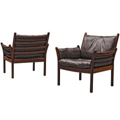 Pair of 'Genius' Chair in Rosewood and Brown Leather by Illum Wikkelsø