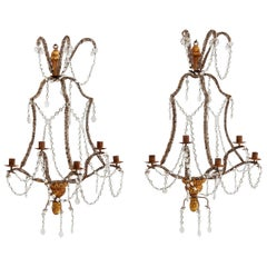 Pair of Genoese Giltwood and Beaded Glass 5-Light Wall Sconces, circa 1900
