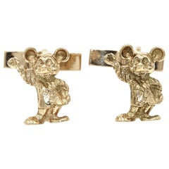 Pair of Gentleman's 14 Kt Yellow Gold Mickey Mouse Cufflinks