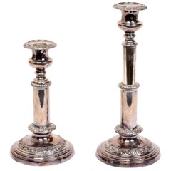 Pair of Geo III Sheffield Telescopic Candlesticks, circa 1815, by T&J Creswick