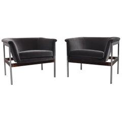 Pair of Geoffrey Harcourt Grey Velvet Lounge Chairs