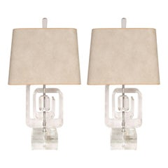 Acrylic table lamps 280 for sale at 1stdibs pair of geometric acrylic table lamps aloadofball Image collections