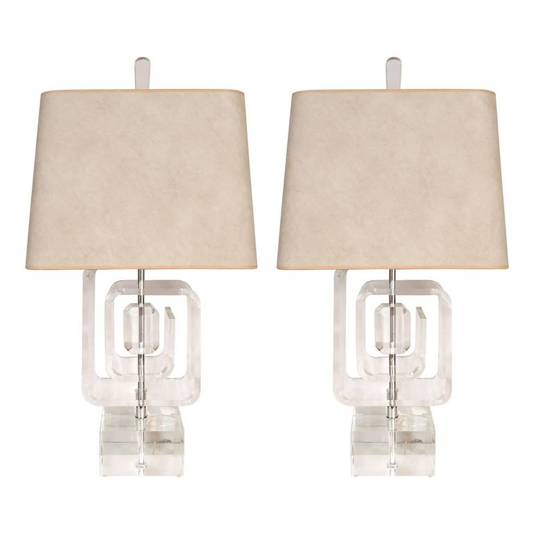 Pair of geometric acrylic table lamps for sale at 1stdibs pair of geometric acrylic table lamps for sale aloadofball Image collections