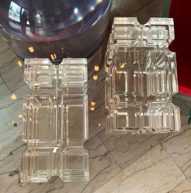 Polished Pair of Geometric Bookends in Lucite by Amparo Calderon Tapia for Cain Modern For Sale