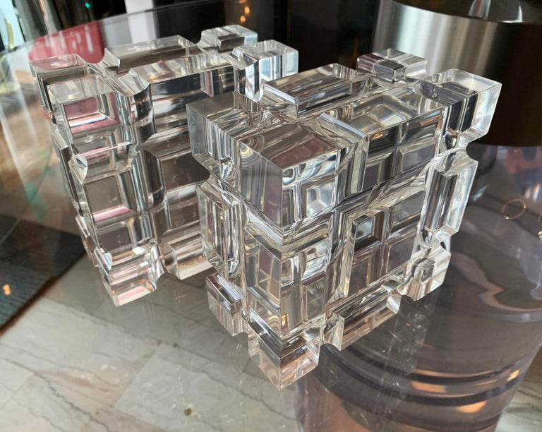 Pair of Geometric Bookends in Lucite by Amparo Calderon Tapia for Cain Modern For Sale 1