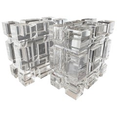 Pair of Geometric Bookends in Lucite by Amparo Calderon Tapia for Cain Modern