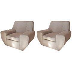 Pair of Geometric Cream Linen Upholstered Midcentury Lounge Chairs