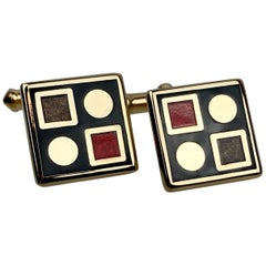 1960's Pair of Geometric Design Cufflinks with Engine Turning and Enamel