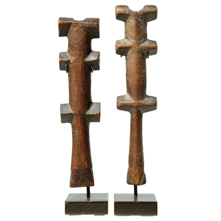 Pair of Geometric Flutes from Africa, Early 20th Century Great Modern Forms For Sale