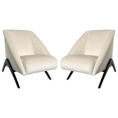 Pair of Geometric Italian Club or Lounge Chairs Attributed to Gio Ponti