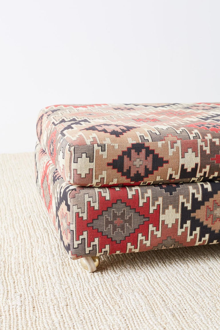 Pair Of Geometric Kilim Style Upholstered Ottomans At 1stdibs
