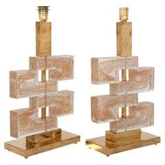 Pair of Geometric Murano Glass Lamps