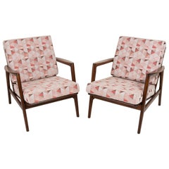 Pair of Geometric Pink Print Velvet Armchairs, 1960s, Poland