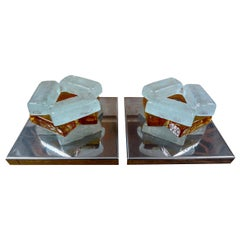 Pair of Geometric Poliarte Style Midcentury Murano Glass Sconces
