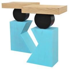 Pair of Geometric Postmodern Handmade Walnut Blue and Black Side or End Tables